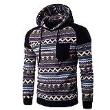 FAPIZI ❈ Men Blouse ❈ Men Retro Long Sleeve Hoodie Hooded Sweatshirt Tops Jacket Coat Outwear (L, Black)