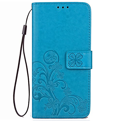 Galaxy J3 2018,J3 Achieve,J3V J3 V 3rd Gen,J3 Star,Amp Prime 3 Case,[Flower Embossed] Leather Wallet Flip Protective Case Cover with Card Holder and Stand for Samsung Galaxy J3 2018 J337 (Blue)