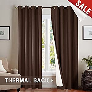 jinchan Blackout Thermal Curtains 84 Inch, Lined Energy Efficient for Bedroom Window Curtain Living Room, Brown, Grommet Top, 2 pcs