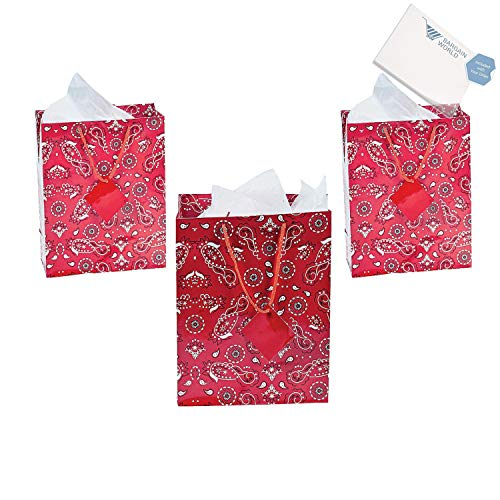 Medium Red Bandana Gift Bags with Tags (With