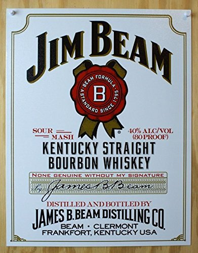 Jim Beam - White Label Tin Sign 12.5WX16H , 13x16 by Poster -