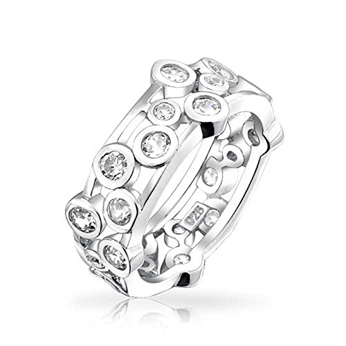 Bling Jewelry Sterling Silver Bezel Set Bubbles Cubic Zirconia Ring