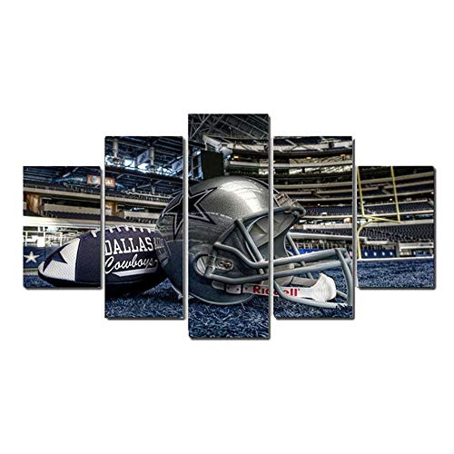 5 Panel Dallas Cowboys Canvas Prints Painting Wall Art Sports Home Decor Artwork for Living Room Without Frame]()