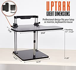 UpTrak - by Stand Steady Standing Desk - Height Adjustable - Converts Any Desk or Cube to a Sit / Stand Up Desk! (Cherry)