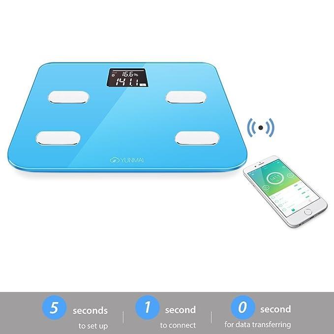 Yunmai Color Báscula Inteligente - Peso & BMI y análisis de cuerpo + músculo y hueso de agua de BMR.etc Balance de grasa de cuerpo de Bluetooth (Azul): ...