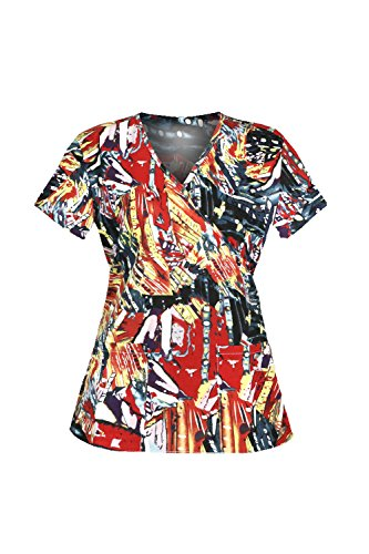 G Med Women's Printed Mock Wrap V Neck Back Tie 2 Pockets Scrub Top(TOP-MED,REDA1-XL)