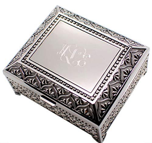 (Newfavors Personalized 4 inch Jewelry Box Engraved with 3 Letter)