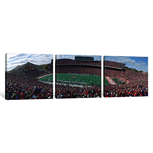 Icanvasart 3-Piece University of Wisconsin Football Game, Camp Randall Stadium, Madison, Wisconsin, USA Canvas