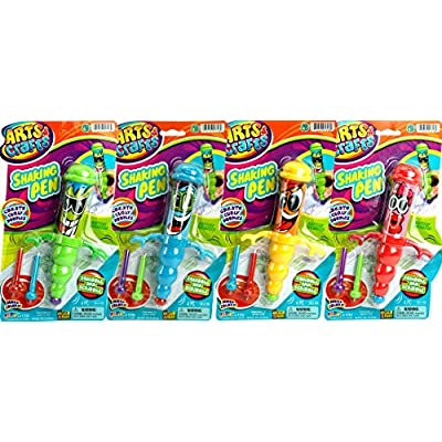 JA-RU Gyro Shaking Pen (Pack of 4 Pens) and 1 Bouncy Ball Bundle Vibrating Fun. Assorted Styles| Item #1316-4p: Toys & Games