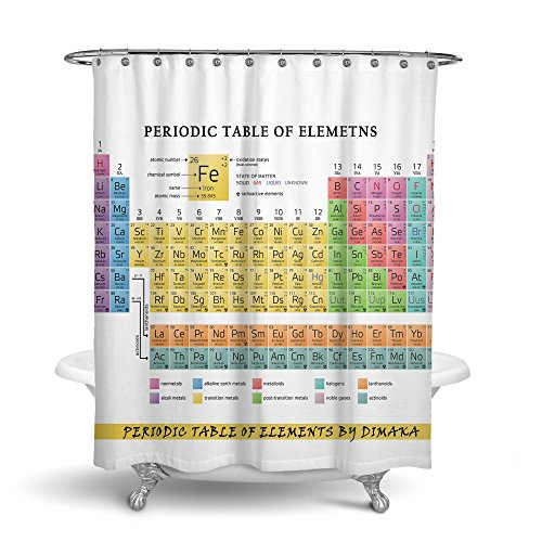 Dimaka Shower Curtain Bathroom Decoration Design Decor Mildew Resistant Repellent Fabric Double Side Water Proof Home Textile (Periodic Table of Elements, 72