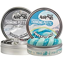 """Crazy Aaron's Thinking Putty – Emerald Sky Online Exclusive 3.2 oz and Liquid Glass 3.2 oz – 4"""" Tins 2 Pack"""