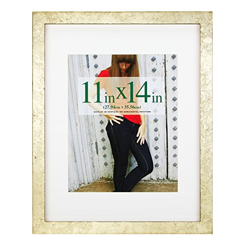 RPJC 11x14 Picture Frames Made of Solid Wood and High Definition Glass Display Pictures 8x10 with Mat or 11x14 Without Mat for Wall Mounting Photo Frame Gold Foil ()