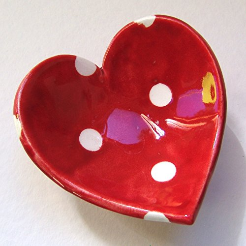 - Red polka-dot pottery Heart Dish, candleholder, soap dish, ring dish