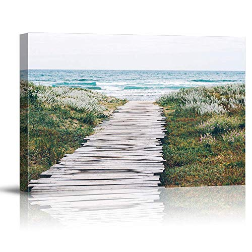 NWT Canvas Wall Art Path Green Beach Sea Water Painting Artwork for Home Prints Framed - 32x48 inches (Path Wall)