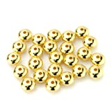 BEADNOVA 30pcs 7mm Gold Plated Metal Rondelle Spacer Beads Smooth Solid Saucer Beads for Jewelry Making Findings