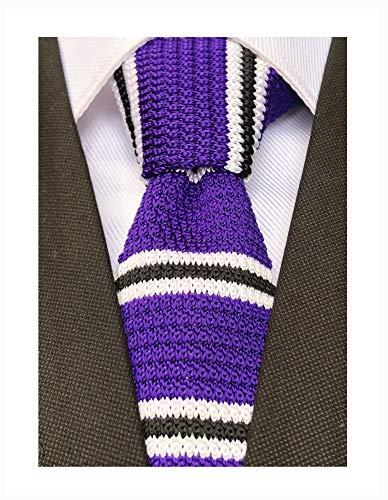 - Mens Purple Black White Style Knit Novelty Neck Ties Ugly Long Woven Smart Soft Winter Silk Neckwear