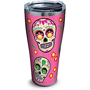 25001fa903c Tervis 1261356 Sugar Skulls Stainless Steel Tumbler with Clear and Black  Hammer Lid 30oz, Silver
