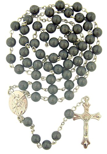 Imitation Marble Beads 22 Inch Rosary with Saint Michael Medal Centerpiece