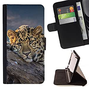 BETTY - FOR Samsung Galaxy Note 4 IV - African Cheetah Big Cat - Style PU Leather Case Wallet Flip Stand Flap Closure Cover