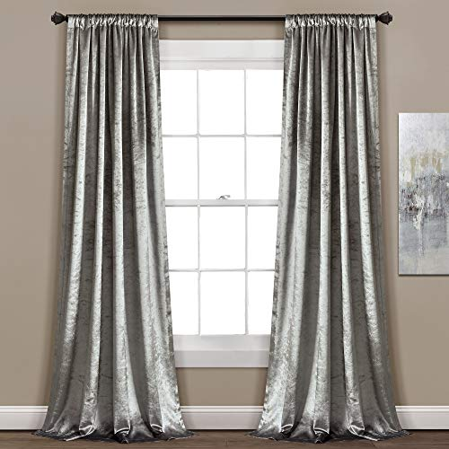 Lush Decor Velvet Dream Solid Color Luxury Shimmery Window Curtain Panel Set (Pair), 84