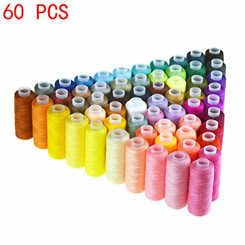 Candora Sewing Thread Assortment Coil 60 Color 250 Yards Each Polyester Thread Sewing Kit All Purpose Polyester Thread for Hand and Machine Sewing (Polyester Thread Kit)
