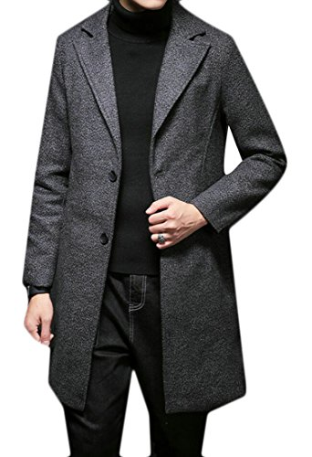 Alion Men's Single Breasted Notched Lapel Tweed Trench Coat Wool Blend Overcoat Dark Grey 3XL (Tweed Overcoat)