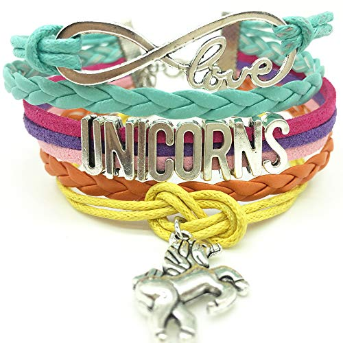 TimeLogo Infinity UNICORNS Bracelet-Handmade Gift for Girls UNICORN Jewelry, Infinity Bracelet Unicorn Charm, Gift Boxed Women and girls Children and adult sizing Gift ()