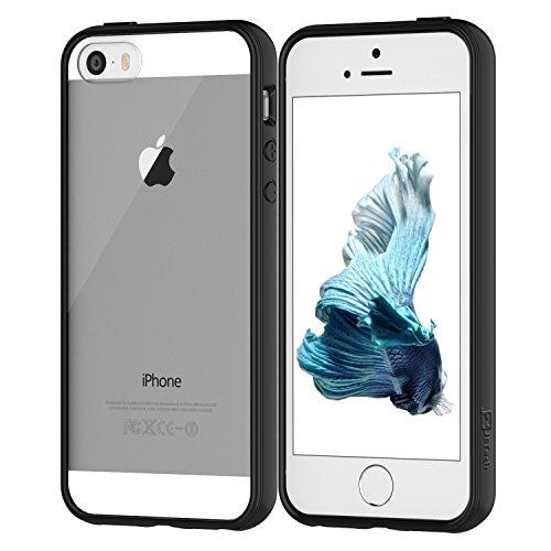 iPhone 5s Case, JETech® Apple iPhone SE 5S 5 Case Bumper Shock-Absorption Bumper and Anti-Scratch Clear Back (Black)