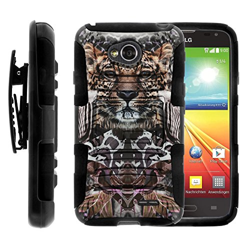 LG Ultimate 2 Case, LG Ultimate 2 Holster, Two Layer Hybrid Armor Hard Cover with Built in Kickstand for LG Optimus L70 MS323, LG Optimus Exceed 2 VS450PP, LG Realm LS620, LG Ultimate 2 L41C (Metro PCS, Verizon, Boost Mobile) from MINITURTLE | Includes Screen Protector - Zebra Leopard Illusion (Lg Realm Phone Boost Mobile)