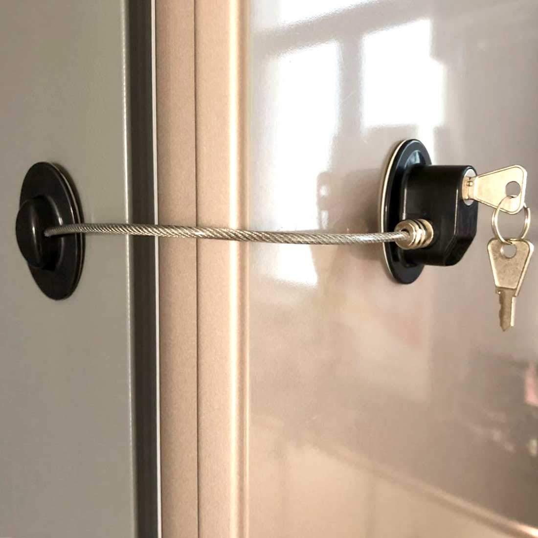 Child Safety Lock Refrigerator Door Lock Lock for Cabinet 1-Pack Black File Cabinet Lock ,Mini Fridge Lock Drawer Lock Refrigerator Door Locks