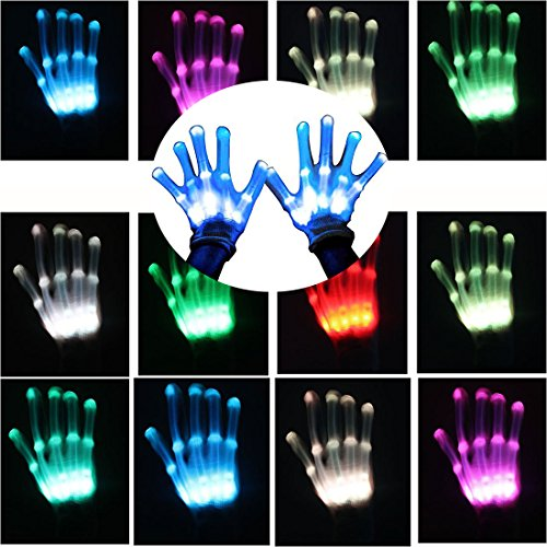 Led Skeleton Gloves, LED Changeable Light Up Shows Halloween Decoration , Novelty Christmas Gift Glow in the Dark