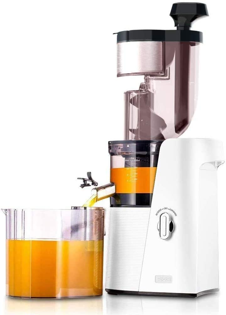 SKG Slow Masticating Juicer Wide Chute Cold Press Anti-oxidation BPA Free High Volume Easy to Clean - White