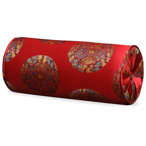Chinese Silk Neck Pillow – Longevity, Red 36