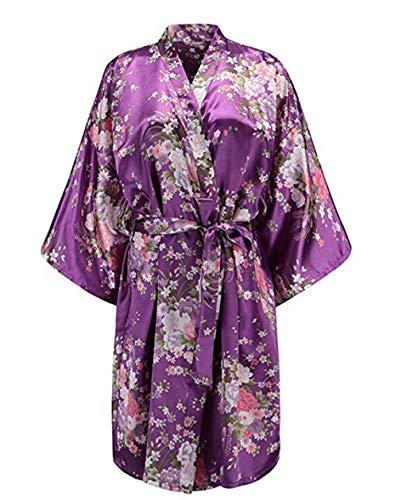 Violet Robe Courte De Floral Femmes Nuit Vtements Lydianbaby Kimono Marie de vqOAwPF