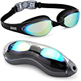 Aegend Swim Goggles, Streamlined Design Swimming Goggles No Leaking Anti Fog Premium UV Protection 180 Degree Vision and Soft Silicone Nose Bride, Pool Goggles for Adult Men Women
