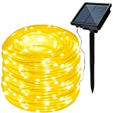 AGPtek Solar String Lights 78.7FT 200LED Waterproof Rope Lights high capacity battery For Indoor Outdoor Christmas Garden Party Patio Decor - Warm White