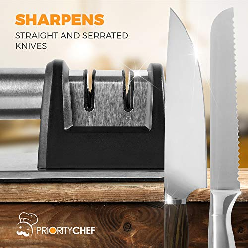 PriorityChef Knife Sharpener for Straight and Serrated Knives, 2-Stage Diamond Coated Wheel System, Sharpens Dull Knives Quickly, Safe and Easy to Use by Priority Chef (Image #3)