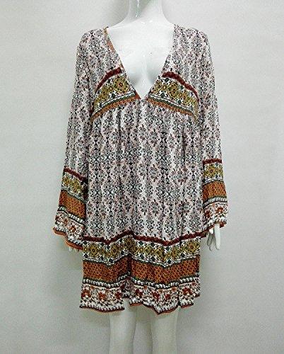 Robe V 4 Ethnique Imprim Col Femme Courte Blanc Occasionnels Hippie Tunique Boheme Lache 3 Manches qvwB7f