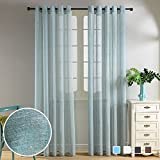 Top Finel Faux Linen Semi-Sheer Curtains Window Curtain Panels For Living Room Kitchen The Bedroom 54 inch Width X 96 inch Length 2 panels,Cyan,Grommets Review