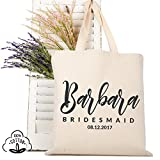 Personalized Tote Bag Natural Cotton Wedding Bridal Party | DSG#8 | set of 3