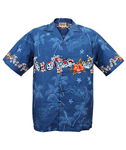 Winnie Fashion Motorcycle Hawaiian Aloha Shirt; Made in Hawaii [Blue 2XL] (Hawaiian Shirt Motorcycle)