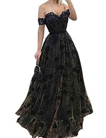 Scarisee Women s Formal Illusion Short Sleeves Off Shoulder Prom Evening  Dresses Lace Beaded Bowknot Party Gowns 3fa8b973a