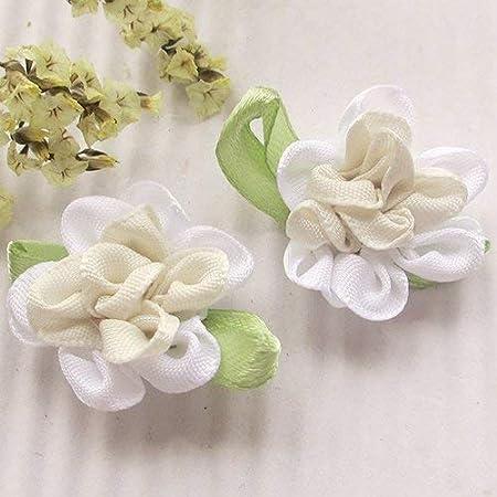Chenkou Craft 2tone Satin Ribbon Flowers Bows Appliques DIY Craft Wedding Decoration 40pcs