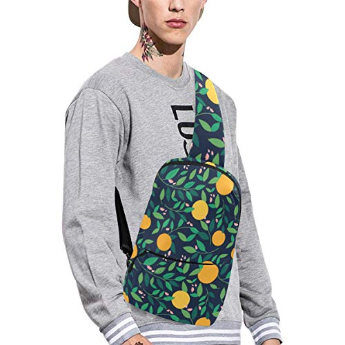 Sling Shoulder Bag Fashion Lemon And Orange Clementine Twig Fruits Delicious Winter Vitamin Design Crossbody Bag Daily Sports Climbing Or Multi-purpose Backpack Men And Women Ladies And ()