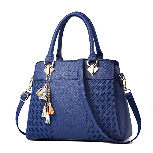 Womens Purses and Handbags Ladies Designer Satchel Tote Bag Shoulder Bags, Navyblue ()