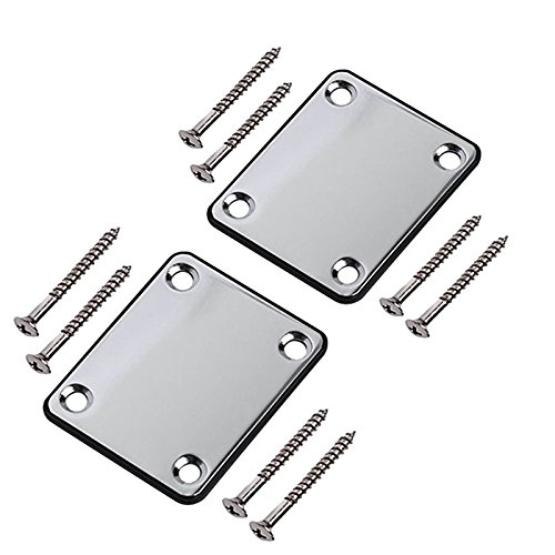 (Timiy Electric Guitar Part Neck Plate with Screws Chrome for Strat Tele Guitar Precision,Jazz Bass Replacement 2 Sets (Silver Tone) )