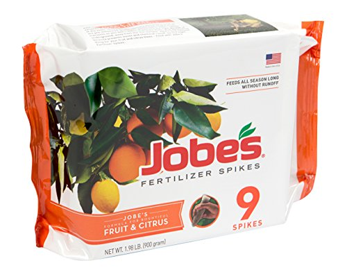 10 Fruit - Jobe's Fruit & Citrus Fertilizer Spikes 8-11-11Time Release Fertilizer for All Fruit Trees, 9 Spikes per Package