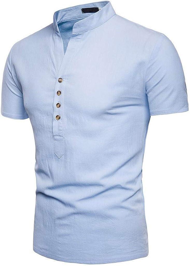 waotier Camiseta De Manga Corta para Hombre Camiseta De Estilo Chino con Cuello De Soporte De Color SóLido Ropa Hombre De Verano: Amazon.es: Ropa y accesorios