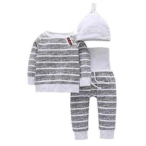 YIJIUJIU Baby Boy 3 Piece Outfits Long Sleeve Newborn Girls Clothes Striped Tops+High Waist Pants +Hat Clothing Set 18-24 Months Under Hat Clothing