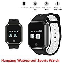 Hangang Smart Watch 0.95 Inch LED Metal Fashion Wristband IP67 waterproof Smart pedometer hands-free phone Support Blood Pressure Heart Rate Monitoring Detachable Watch for IOS /Android (white)